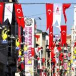 Drapeaux turcs au jour de la fête nationale