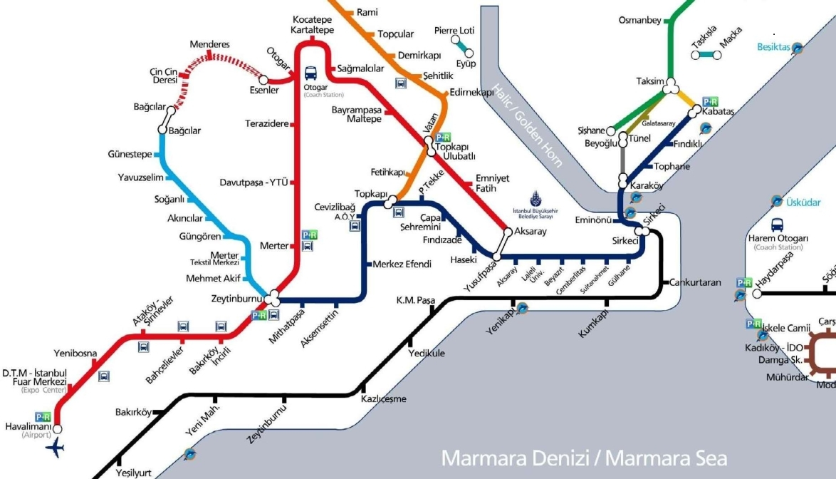 Plan des transports publics à Istanbul
